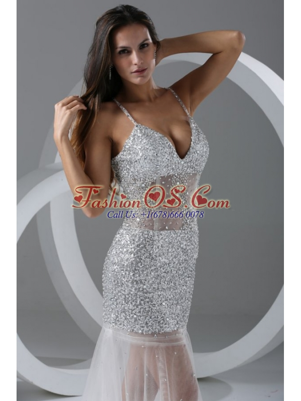 Sexy Mermaid Prom Dress with Spaghetti Straps Beading
