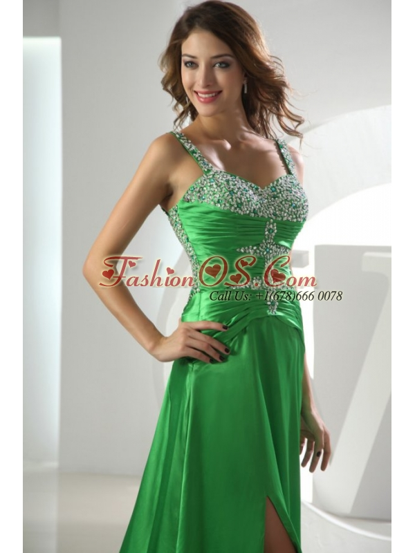 Spring Green Straps Column Elastic Woven Satin Brush Train Beading Prom Dress