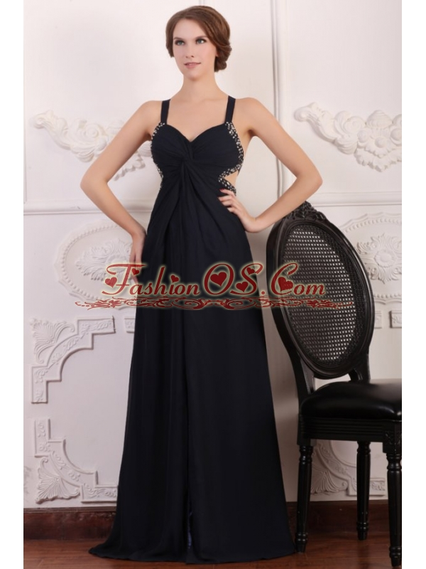Straps Empire Chiffon Beading Sweep Train Prom Dress in Black
