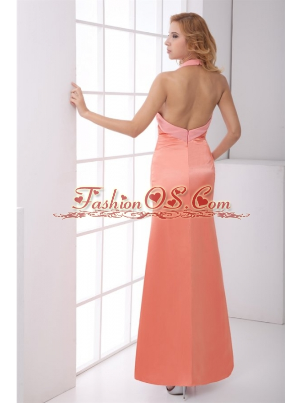 Taffeta Column Halter Backless Floor-length Ruching Watermelon Prom Dress