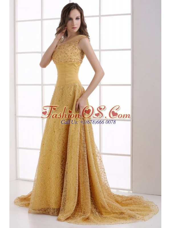 A-line Lace One Shoulder Ruching Court Train Gold Prom Dress