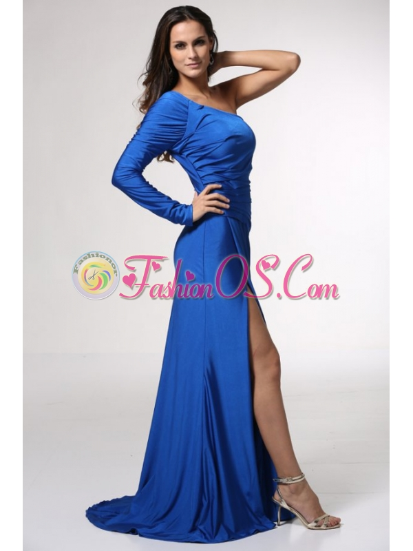 Blue Long Sleeve One Shoulder Prom Dress with High Slit