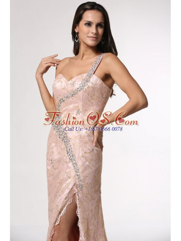 Champagne One Shoulder High Slit Prom Dress with Lace and Beading