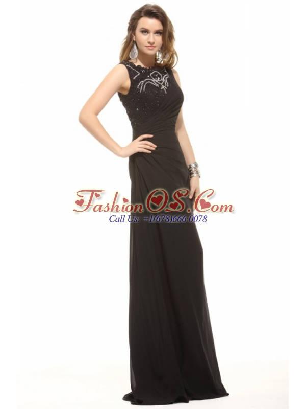 Column Black Bateau Lace Beading and Ruching Prom Dress