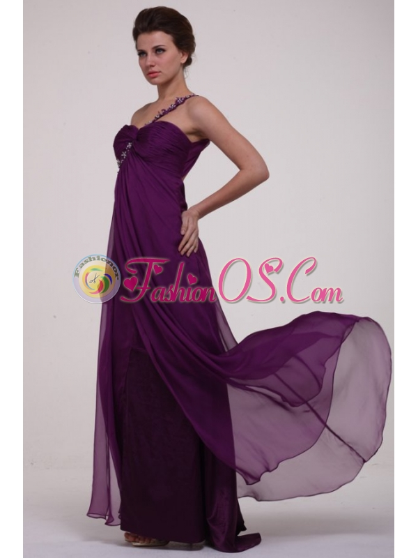 Empire Purple One Shoulder Ruching Appliques Long Prom Dress