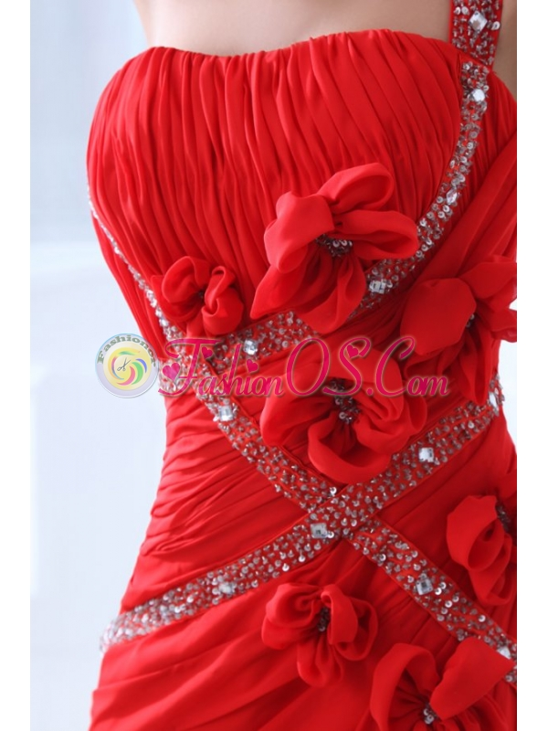 Empire Red One Shoulder Ruching Beading Chiffon Prom Dress