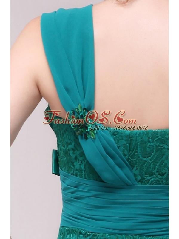 Informal Column One Shoulder Floor-length Lace Green Prom Dresses