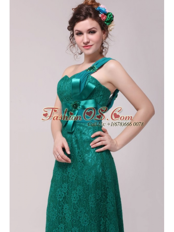 Informal Column One Shoulder Floor-length Lace Green Prom Dresses