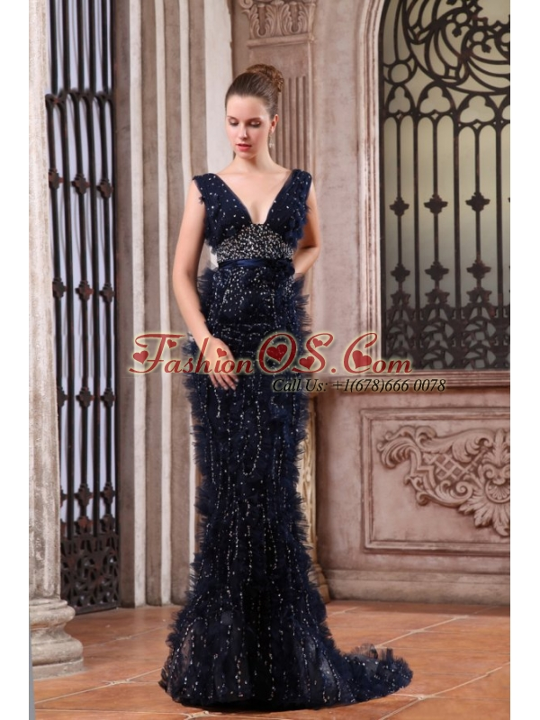 Luxurious Mermaid V-neck Navy Blue Beading Brush Train Prom Dress