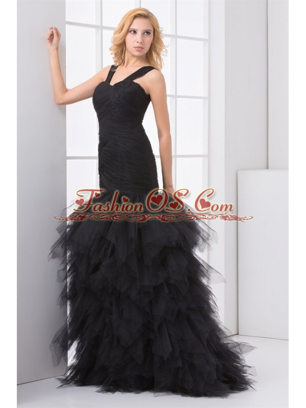 Mermaid Straps Organza Ruffles and Ruching Black Prom Dress