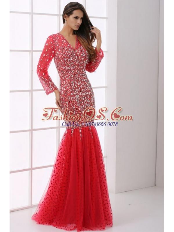 Mermaid V-neck Wine Red Beading Tulle Long Sleeves Prom Dress