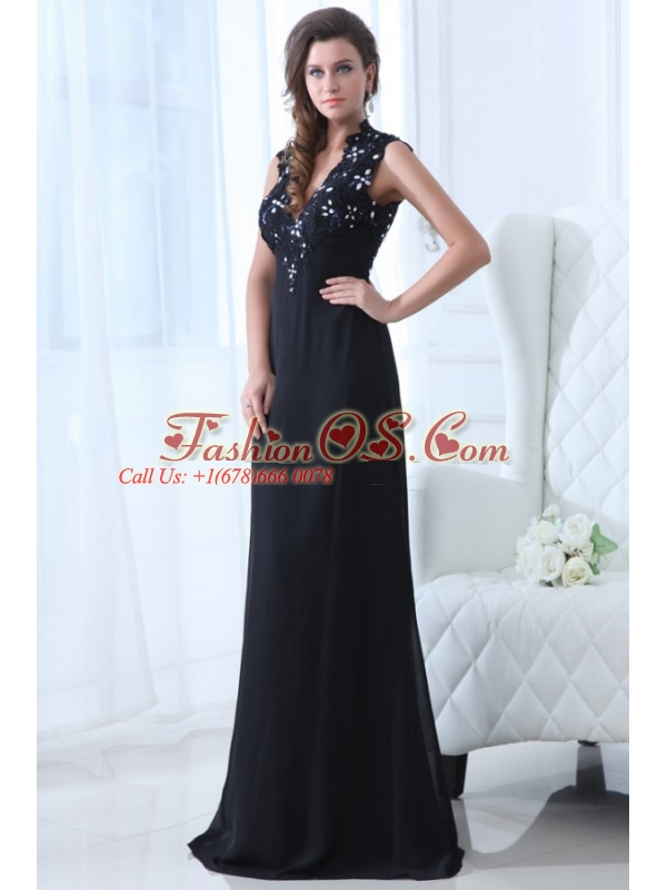Navy Blue Empire V-neck Floor-length Appliques Chiffon Prom Dress with Open Back