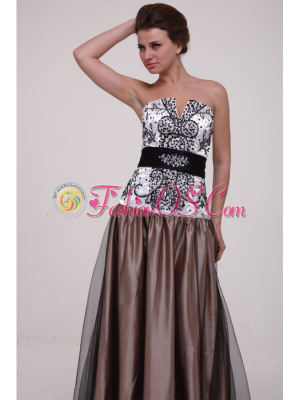 White and Brown A-line Strapless Prom Dress with Beading