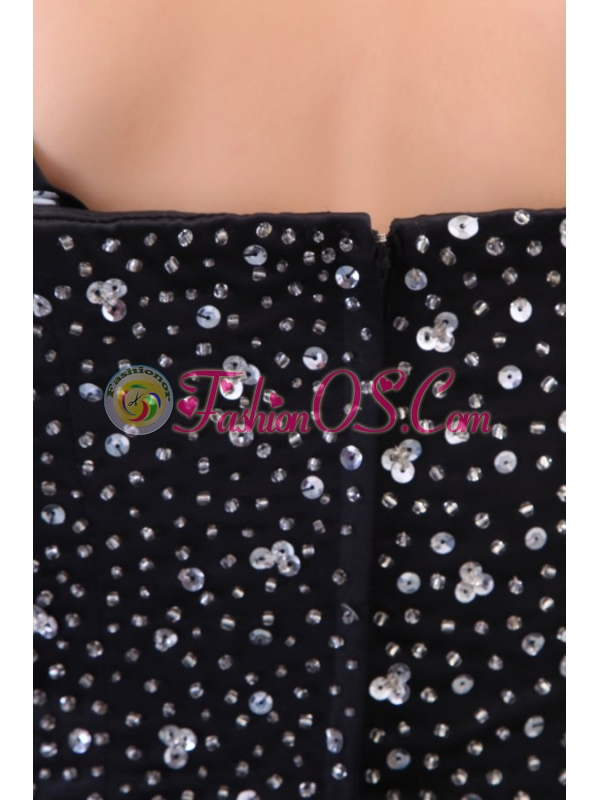 A-line Sapghetti Straps Beading Black 2013 Prom Dress