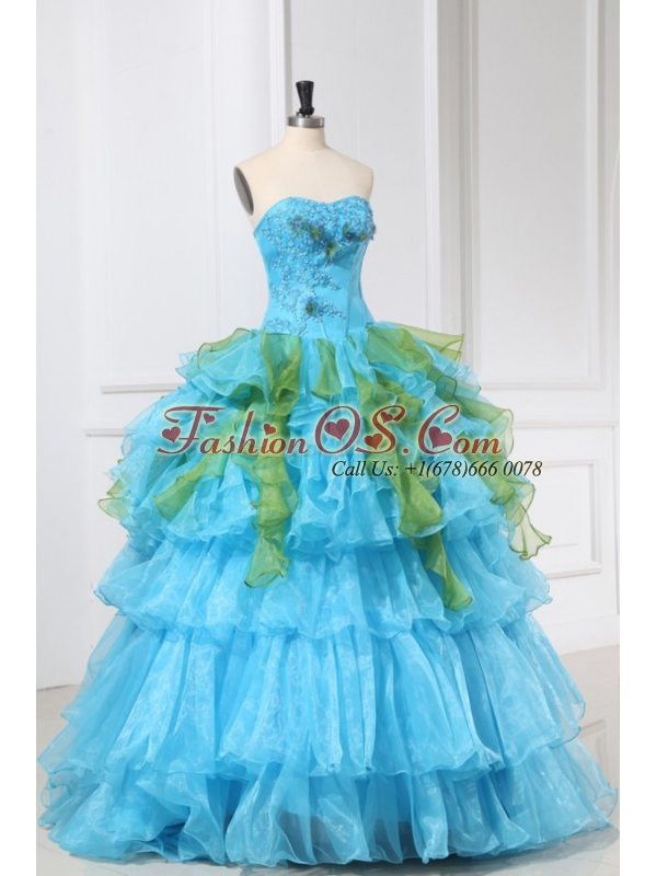 Appliques and Ruffles Organza Aqua Blue Long Quinceanera Dress