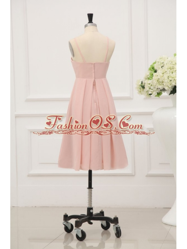 Baby Pink Spaghetti Straps Chiffon Prom Cocktail Dress