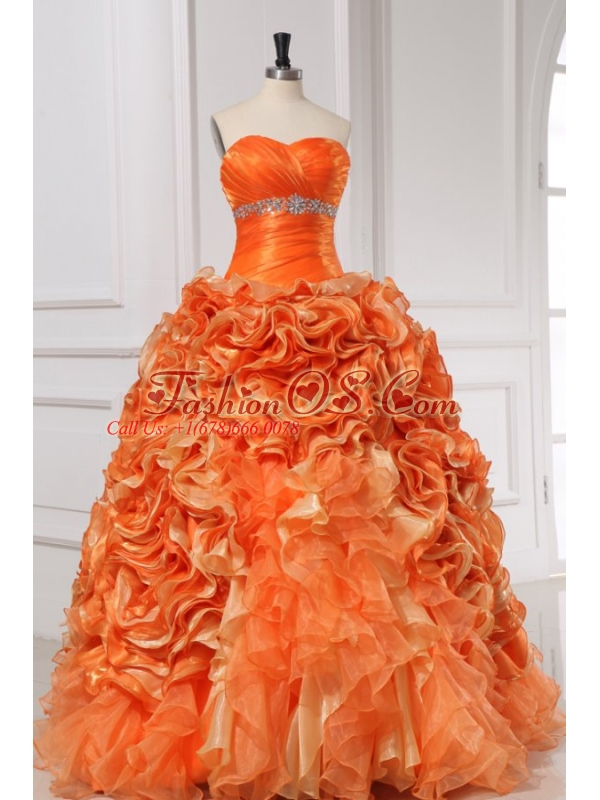 Beading and Rolling Flowers Sweetheart Quinceanera Dress in Orange