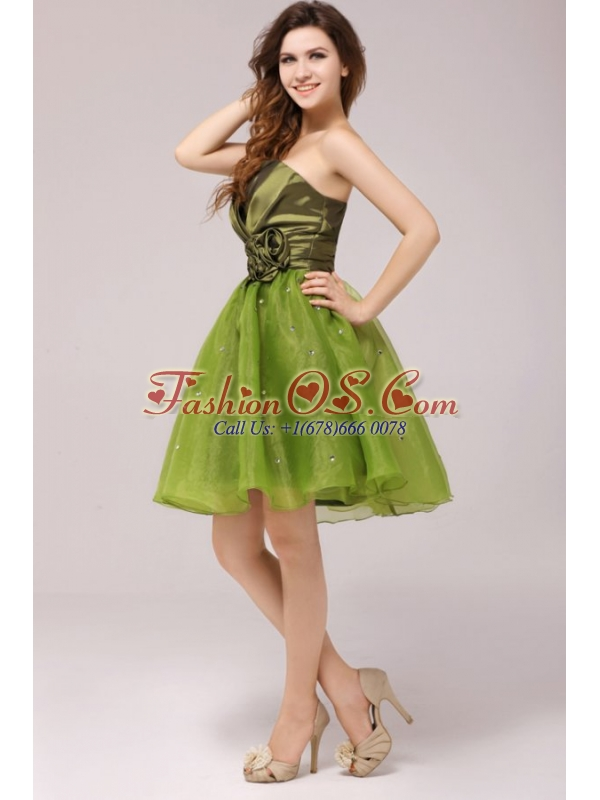 Olive Green V-neck Ruching Hand Made Flower Prom Dress