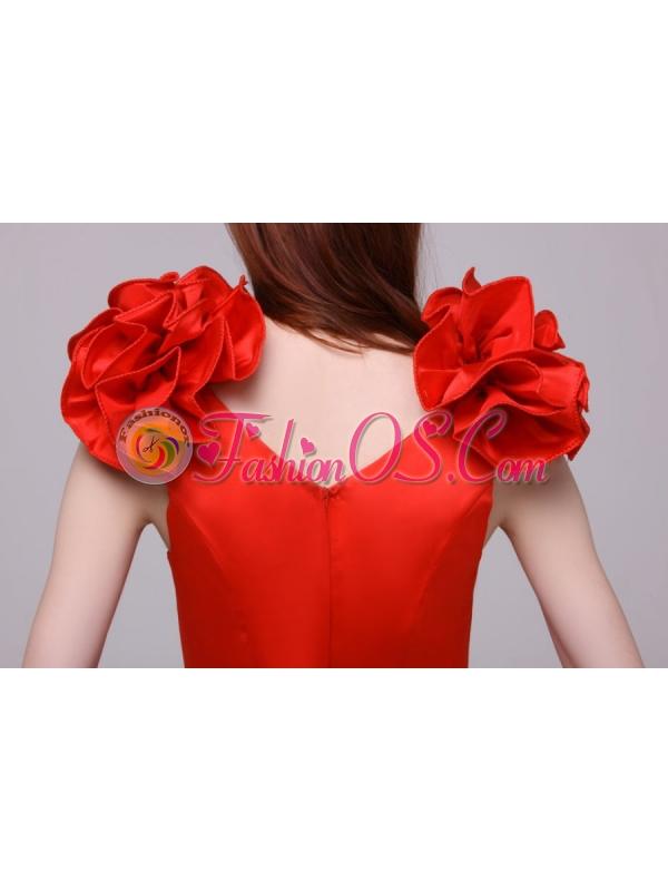Red Column V-neck Hand Made Flowers Mini-length Prom Dress