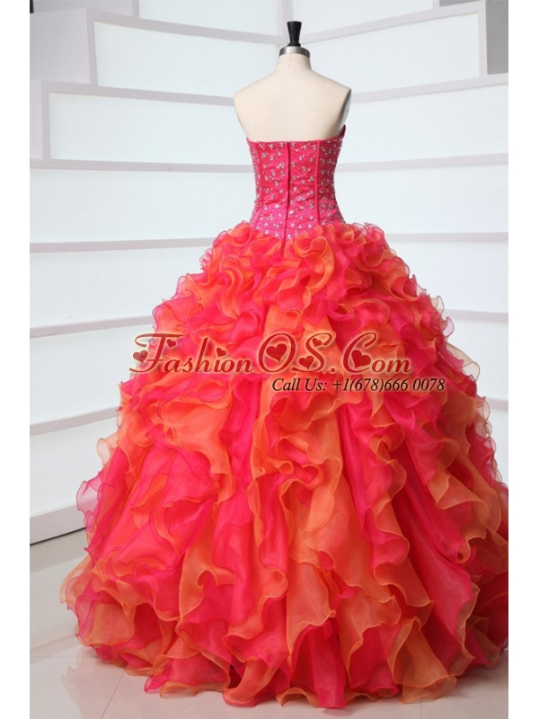 Strapless Red and Orange Red Quinceanera Dress with Beading and Ruffles