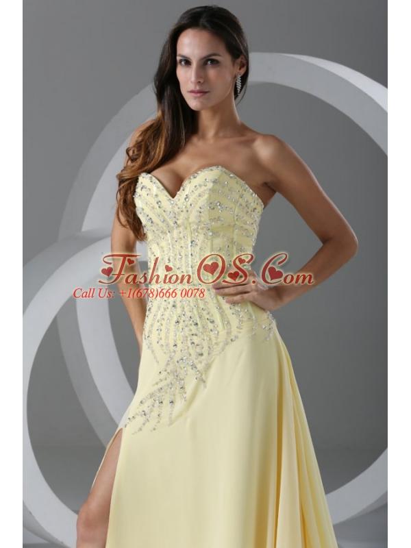 Sweep Train High Slit Light Yellow Prom Dress with Beading