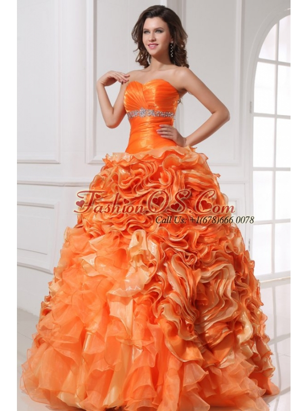 Sweetheart Beading and Rolling Flowers A-line Orange Quinceanera Dress