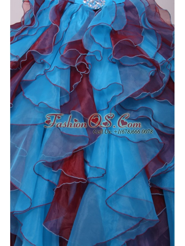 Aqua and Wine Red Strapless Beading and Ruche Quinceanera Dress