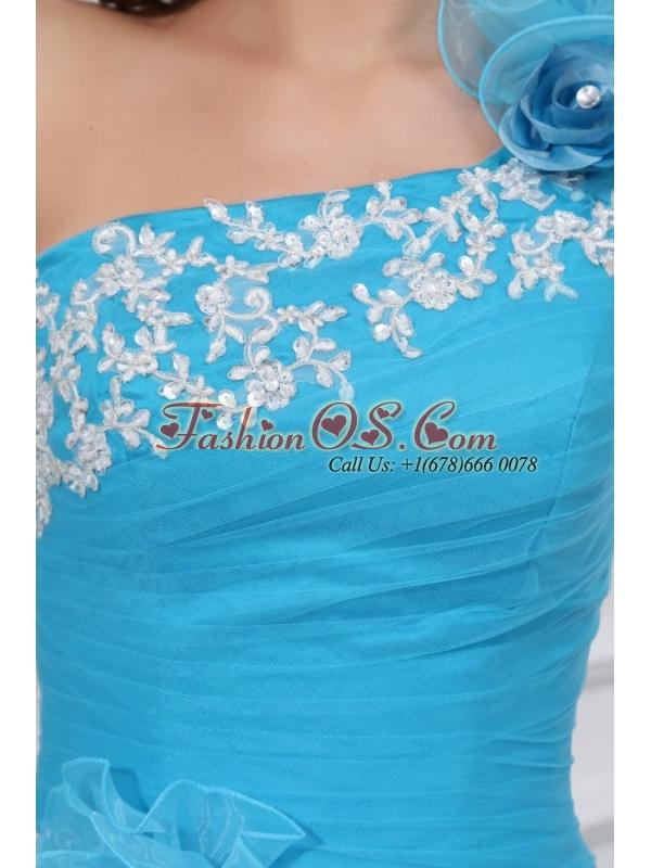 Aqua One Shoulder Appliques and Hand Made Flowers Quinceanera Dress