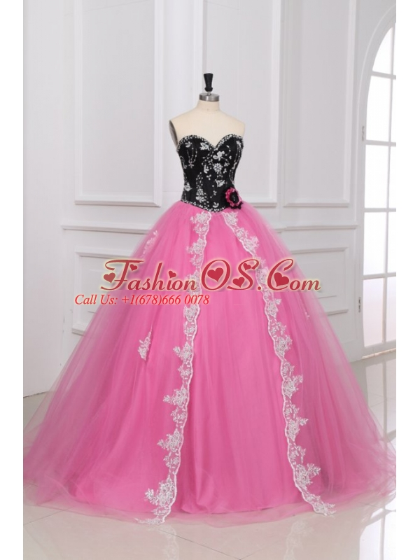 Beading and Appliques Sweetheart Quinceanera Dress in Black and Rose Pink