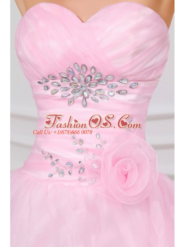Beading and Ruffles Layered Sweetheart Quinceanera Dress in Baby Pink