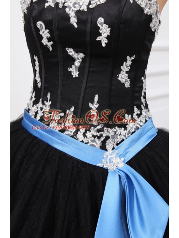 Black Sweetheart Appliques Organza Quinceanera Dress for 2014 Spring
