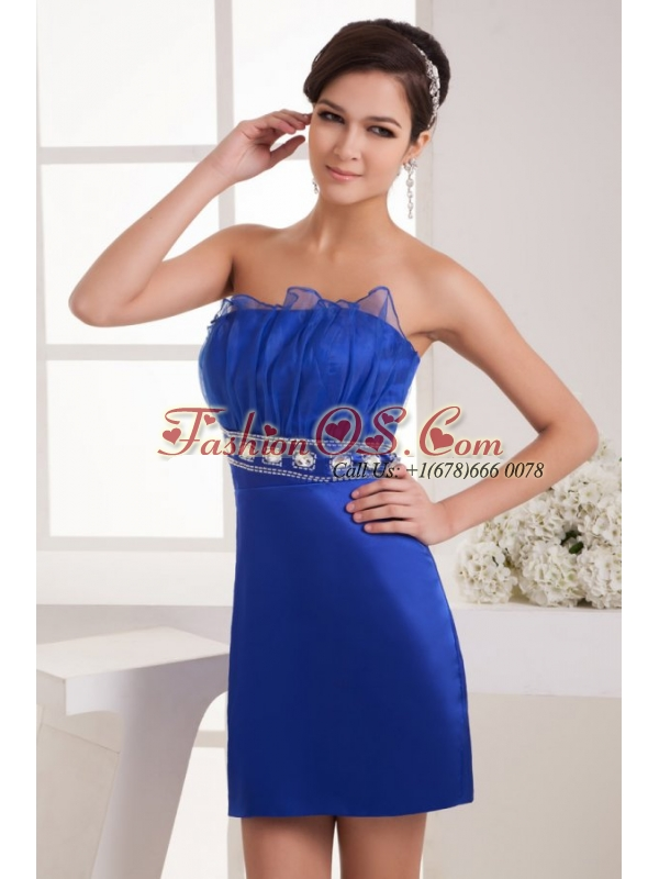 Column Strapless Mini-length Blue Taffeta Beading Prom Dress