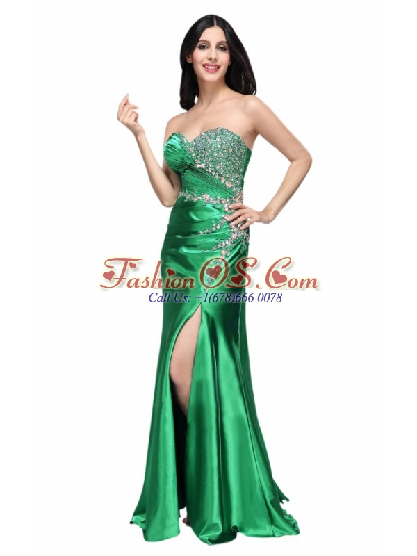 Column Sweetheart Beading Ruching Green High Slit Prom Dress