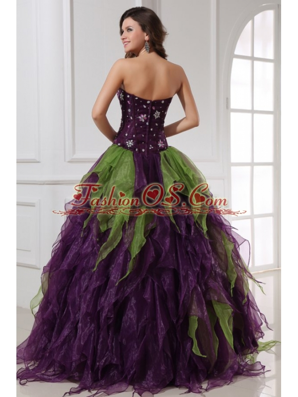 Green and Purple Strapless Rhinestone Quinceanera Dress with Organza