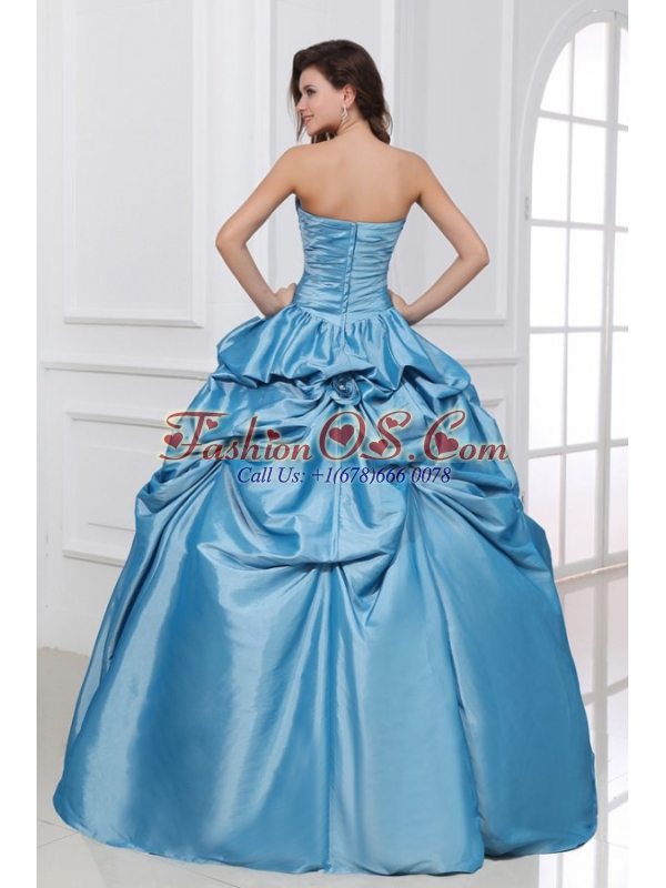 Hand Made Flowers Sweetheart Light Blue Taffeta Quinceanera Dress