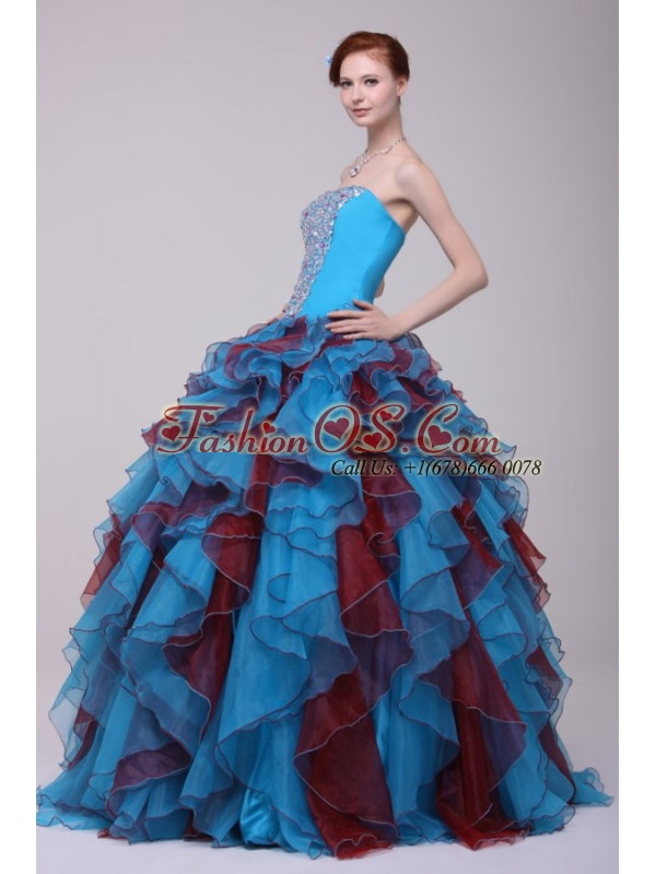 Multi-color Strapless Beaded Decorate Quinceanera Dress with Ruffles
