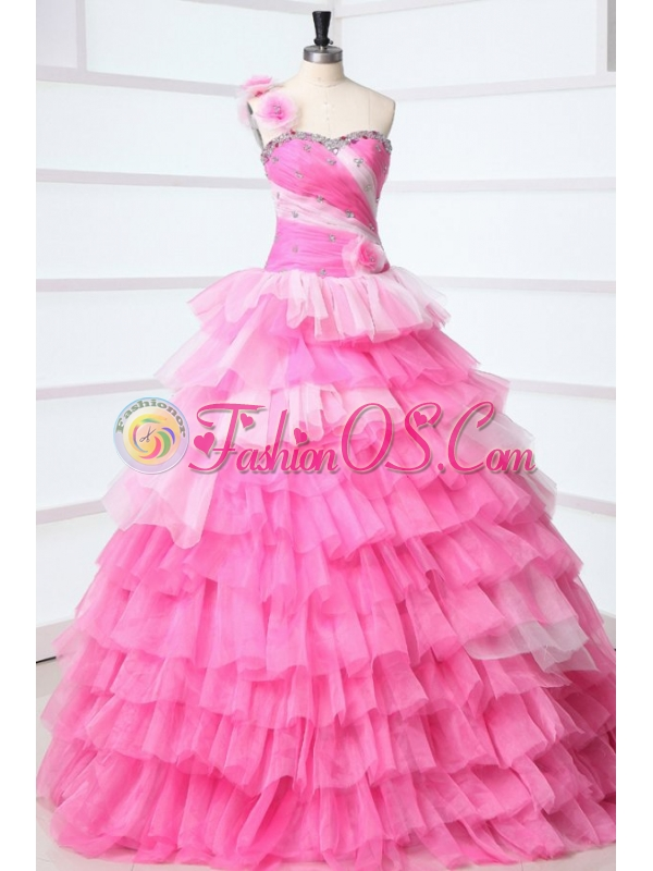 One Shoulder Beading and Ruffles Layered Quinceanera Dress in Pink
