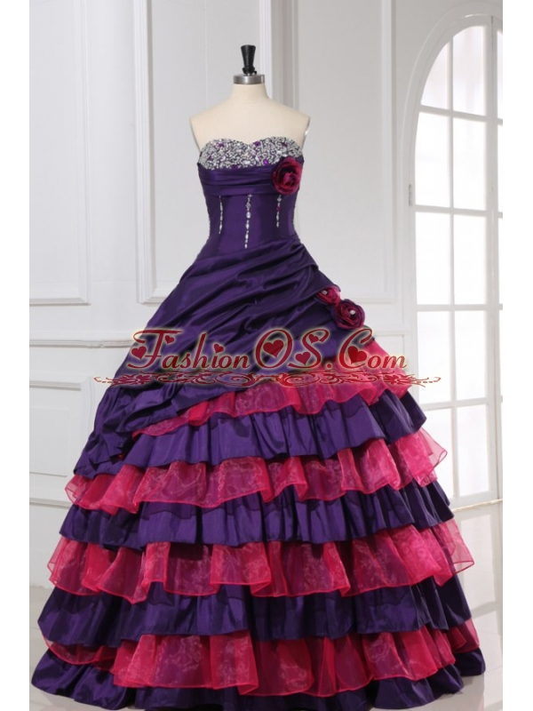 Red and Purple Sweetheart Beading and Ruffles Layered Quinceanera Dress
