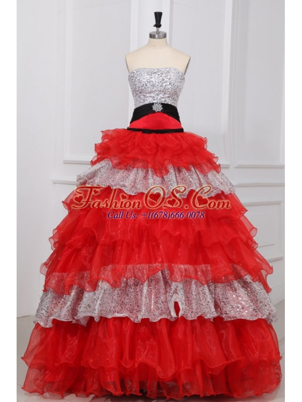 Red and White Strapless Beaded Decorate Organza Quinceanera Dress