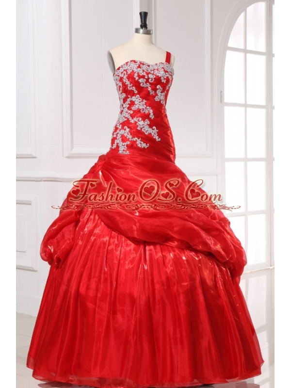 Red Organza Appliques Long Quinceanera Dress with One Shoulder