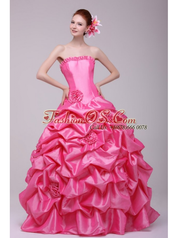 Rose Pink Strapless Hand Made Flowers and Pick-ups Quinceanera Dress