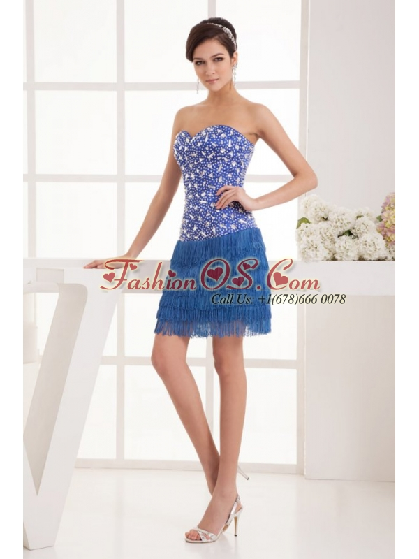 Sweet Blue Column Sweetheart Mini-length Beading Organza Prom Dress