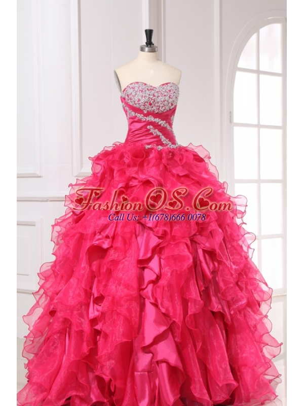 Sweetheart Beading and Ruffles Long Hot Pink Quinceanera Dress