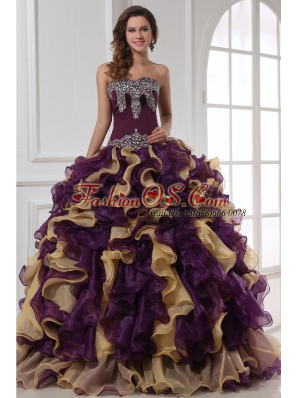 Sweetheart Beading and Ruffles Organza Multi-color Quinceanera Dress