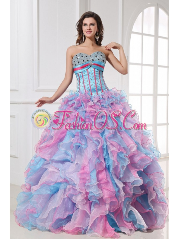 Sweetheart Beading and Ruffles Organza Quinceanera Dress in Multi-color