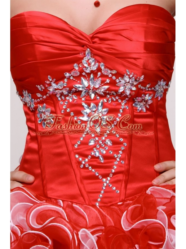 Sweetheart Beading and Ruffles Organza Quinceanera Dress in Red