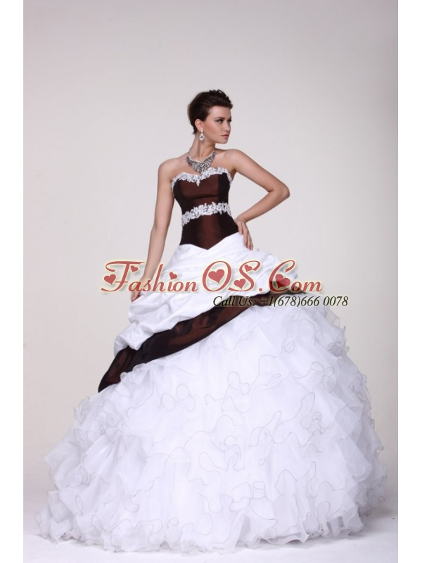 White and Brown Sweetheart Appliques and Ruffles Quinceanera Dress