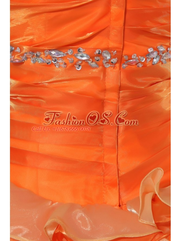 A-line Orange Halter Top Neck Appliques with Beading Quinceanera Dress