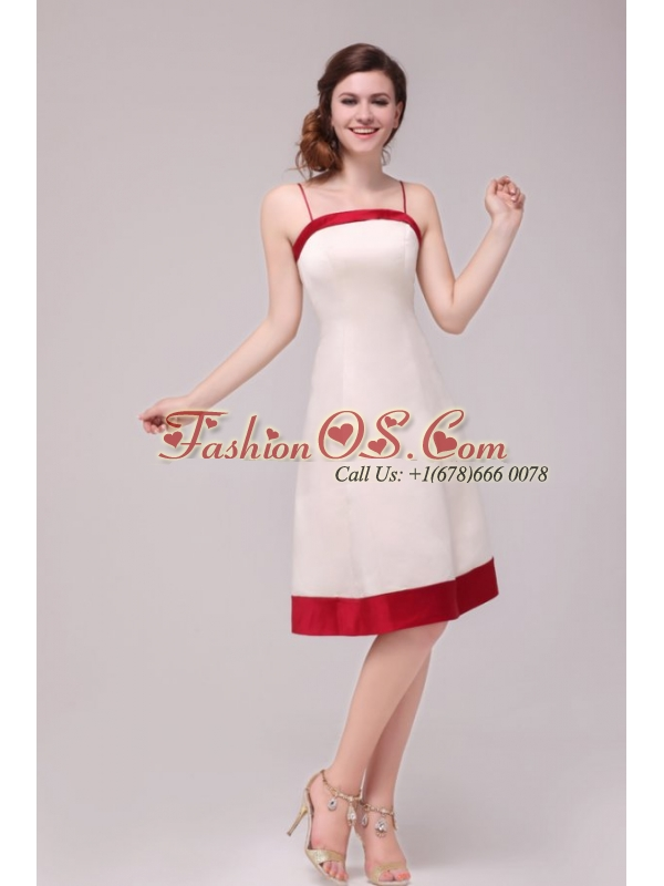 A-line Spaghetti Straps Knee-length Satin Wedding Dress