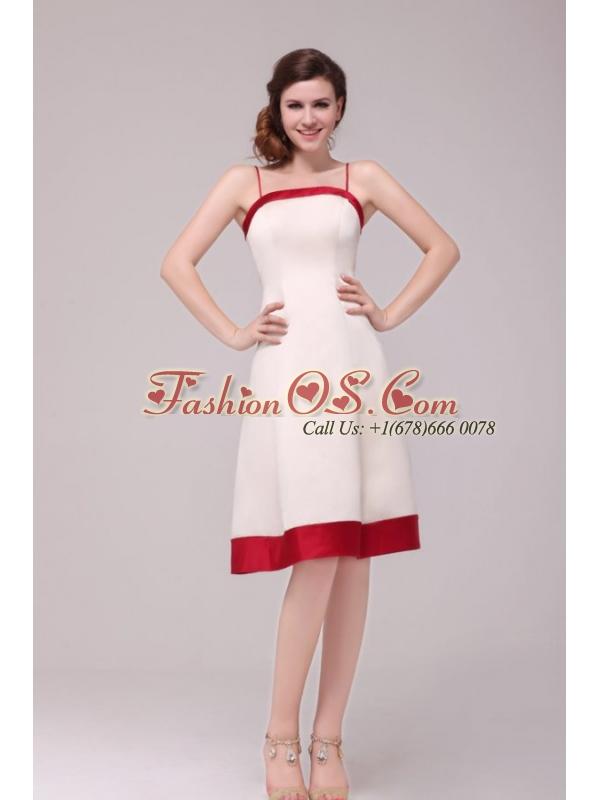 A-line Spaghetti Straps Knee-length Satin Wedding Dress